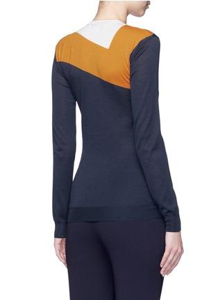 背面 - 点击放大 - STELLA MCCARTNEY - V形拼色羊毛混丝针织衫