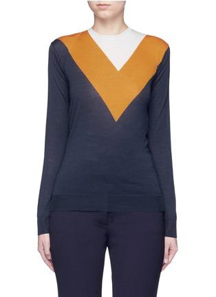 首图 - 点击放大 - STELLA MCCARTNEY - V形拼色羊毛混丝针织衫