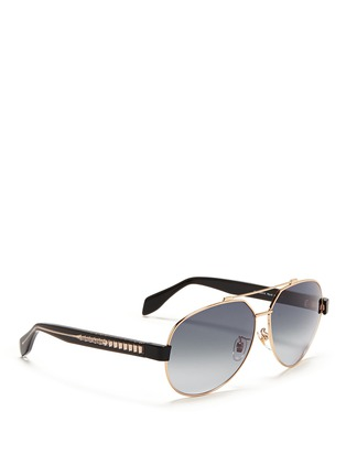 模特示范图 - 点击放大 - Alexander McQueen - Ridge wire core aviator sunglasses