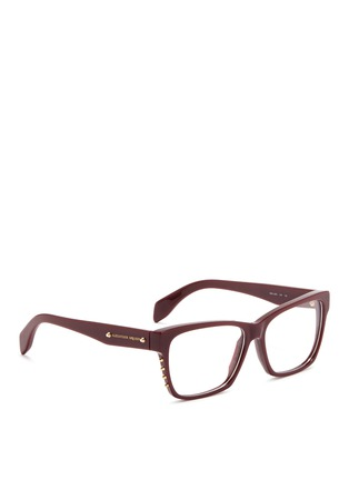 模特示范图 - 点击放大 - Alexander McQueen - Stud square frame optical glasses