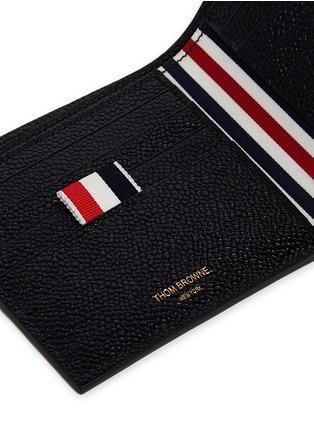 细节 - 点击放大 - THOM BROWNE - 条纹罗缎装饰粒面真皮钱包