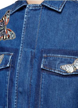 细节 - 点击放大 - Valentino - 蝴蝶刺绣拼贴装饰丹宁夹克