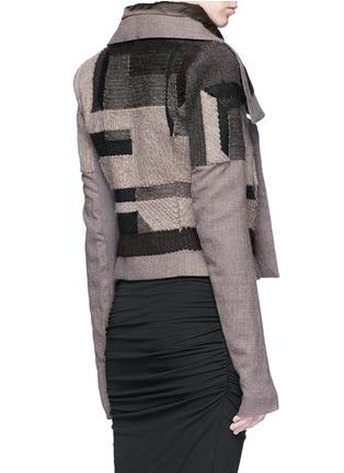 背面 - 点击放大 - Rick Owens - 拼色补丁设计混羊毛夹克