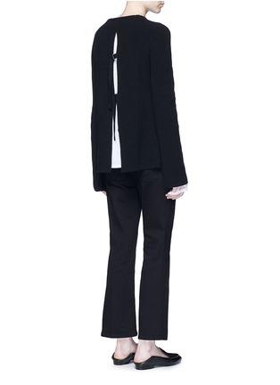 模特示范图 - 点击放大 - HELMUT LANG - 层叠开衩棉混羊绒针织衫