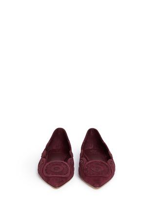 正面 - 点击放大 - TORY BURCH - LEYLA镂空绒面皮尖头平底鞋