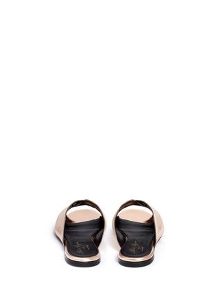 背面 - 点击放大 - CLERGERIE - 金属感褶裥真皮穆勒鞋