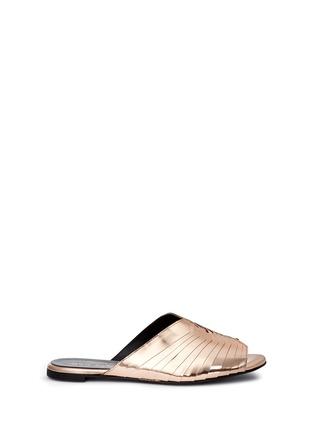 首图 - 点击放大 - CLERGERIE - 金属感褶裥真皮穆勒鞋