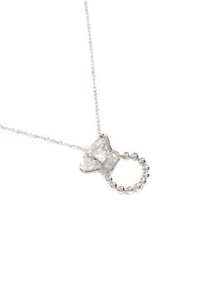 模特示范图 - 点击放大 - BAO BAO WAN - 白色18K金钻石小戒指项链