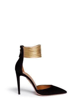 首图 - 点击放大 - AQUAZZURA - HELLO LOVER金属脚腕绊带麂皮高跟鞋