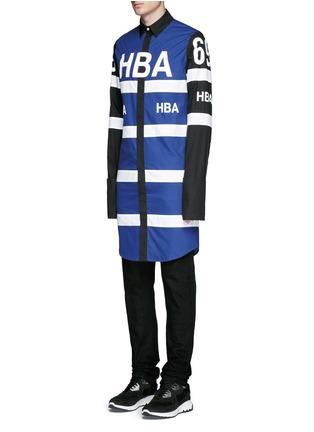 正面 -点击放大 - HOOD BY AIR - 品牌标志拼色长款纯棉衬衫