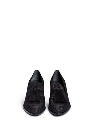正面 -点击放大 - STUART WEITZMAN - 'Razmataz' tassel glitter mesh loafers