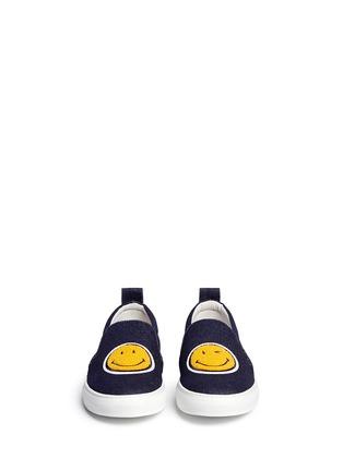 正面 - 点击放大 - JOSHUA SANDERS - 植绒笑脸装饰平底便鞋