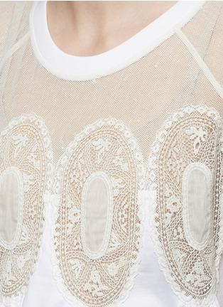 细节 - 点击放大 - CHLOÉ - 花卉蕾丝拼贴碎褶T恤