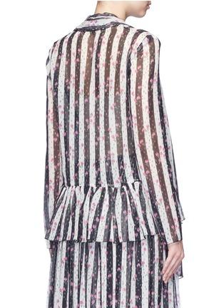 背面 - 点击放大 - LANVIN - 碎花及条纹图案真丝薄纱上衣