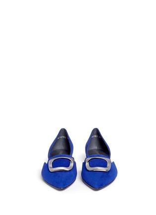 正面 -点击放大 - STUART WEITZMAN - DORSINI金属装饰绒面皮侧空平底鞋