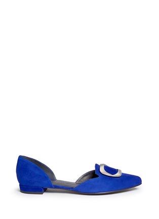 首图 - 点击放大 - STUART WEITZMAN - DORSINI金属装饰绒面皮侧空平底鞋