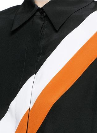 细节 - 点击放大 - Stella McCartney - 拼色斜条纹真丝衬衫