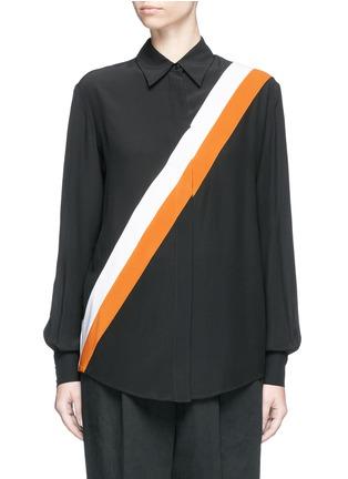 首图 - 点击放大 - Stella McCartney - 拼色斜条纹真丝衬衫
