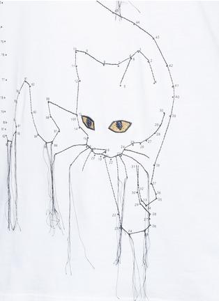 细节 - 点击放大 - STELLA MCCARTNEY - 连线主题小猫刺绣纯棉T恤