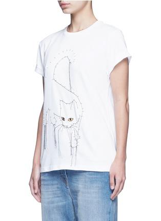 正面 - 点击放大 - STELLA MCCARTNEY - 连线主题小猫刺绣纯棉T恤