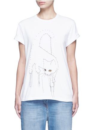 首图 - 点击放大 - STELLA MCCARTNEY - 连线主题小猫刺绣纯棉T恤
